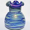 """KRALIK """"Threaded and Tooled"""" blue vase"""