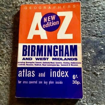 Old Birmingham street index map from 1971. - Paper