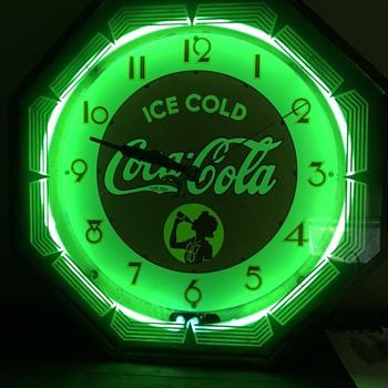 Early Green Neon Coca Cola Clock - Clocks