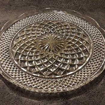 pressed glass cake plate (?) - Glassware