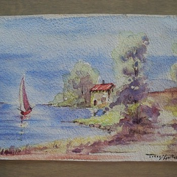 Small Vintage Watercolor with Notation in French.  Translation anyone?