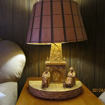 Hand Carved Wood Table Lamp