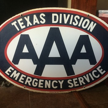 Texas division AAA 2 sided porcelain sign - Signs