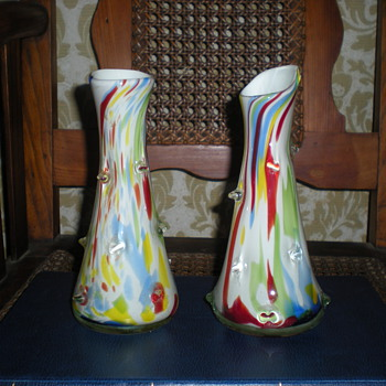 Bohemian multicolored pair vases 1950s or 1960s. - Art Glass
