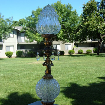 Antique figural cherub & crystal or pressed glass table lamp - Lamps