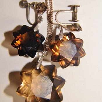 Vintage Deco Star Smokey Topaz Sterling Necklace Earring Demi Parure