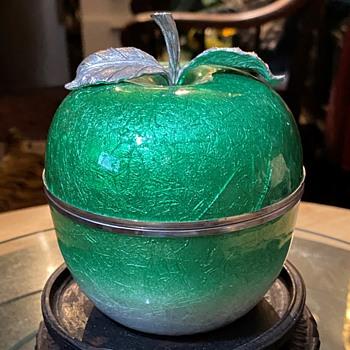 Cloisonne Enameled Green Apple Box - Asian