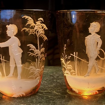 Mary Gregory Flattened Tumblers?  Ring toss game? - Art Glass