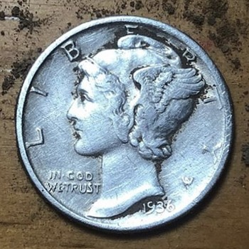 1936 West Point Mercury Dime - US Coins