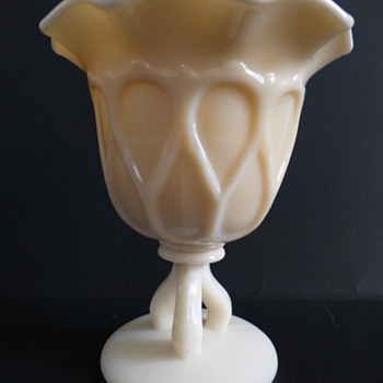 Westmoreland Glass  peach milk glass Doric footed vase with  ruffled top - Glassware