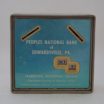 Calendar Bank Promoting The Peoples National Bank, of Edwardsville, PA - Coin Operated