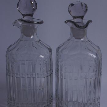 Georgian Square Spirit Bottles - Art Glass