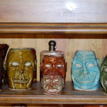 MY Collection of Jack Wittenbrink Pottery , Face Vases,  Artist New Orleans - Pottery
