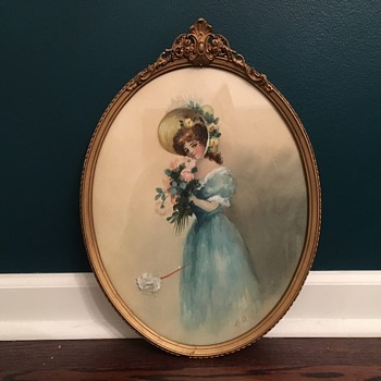 Victorian Woman Water Color On Paper - Fine Art