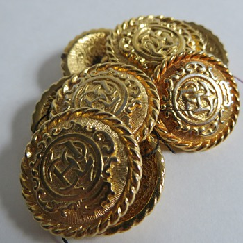 Heavy Goldtone Buttons with 'J C H' Monogram,....Recognize the Logo?