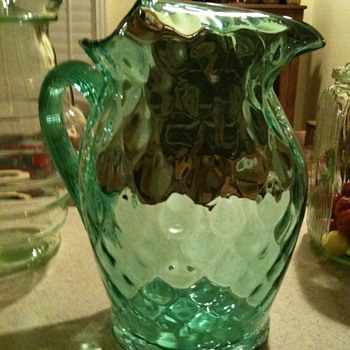 Green Glass Pitcher - Art Glass
