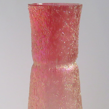 Rindskopf Iridescent Overshot Vase, Pink to Clear - Art Glass