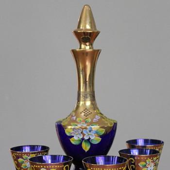 Japanese enamelled decanter and glasses - Art Glass
