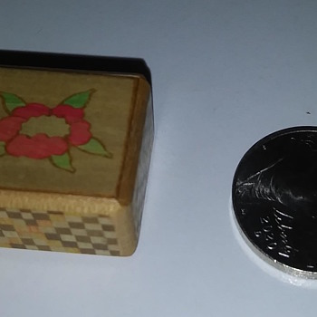 Miniature doll house size Yosegi marquetry puzzle box - Asian