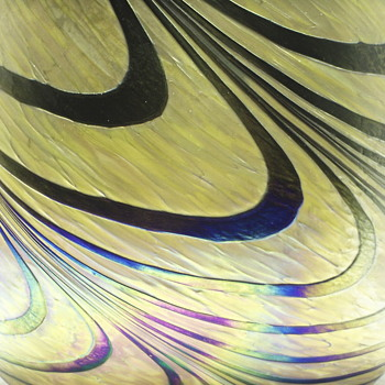 "Iridescent Swirls Vase,,end of XX Century""032115""THANK YOU TO Michelleb007 for put ID on This Vase - Art Glass"