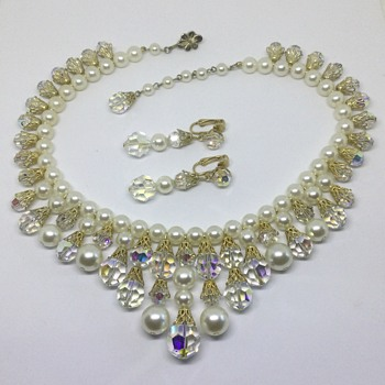 Sherman Faux Pearl & Goldtone Collar - Costume Jewelry