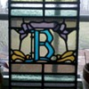 """Old stained glass """"B""""  1909"""