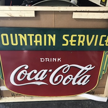 1930's Coca Cola double side fountain service sign  - Coca-Cola