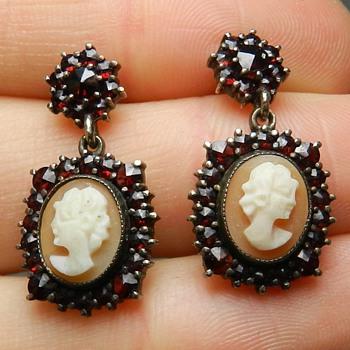 Victorian Bohemian Garnet & Cameo Earrings in Sterling - Fine Jewelry
