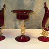 Venetian Mantel Set in ruby glass