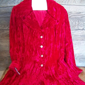 Vintage Red Crushed Velvet Womans Blazer by Charleston Preview Shop