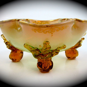 Moser signed opalescent uranium glass bowl, ca. 1885 - Art Glass