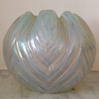 Ripple optic rosebowl - likely Kralik, could be Rindskopf - Art Glass