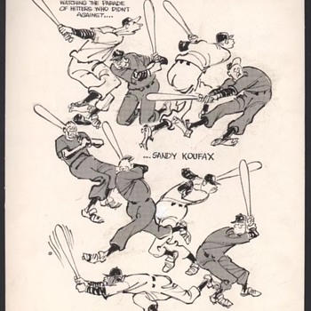 1960's LA Dodgers Sandy Koufax drives batters crazy original illustration by Gene Basset   - Fine Art