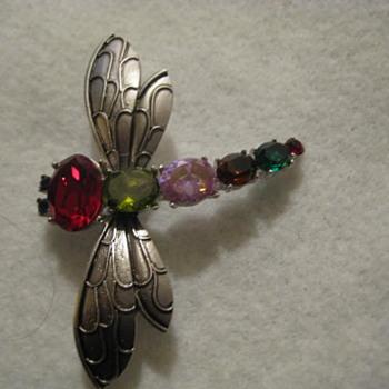 Gemstone DRAGONFLY Brooch - Costume Jewelry