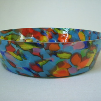 Czech Art Deco Spatter Glass Bowl - Art Glass