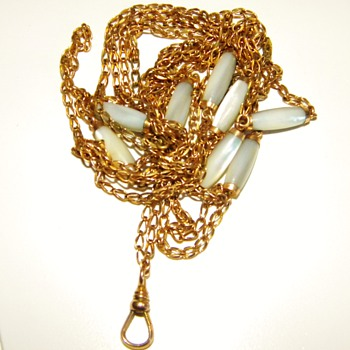 """Antique Victorian MOP Muff Guard Chain Necklace 12ct 12k Rose Gold 68"""" - Fine Jewelry"""