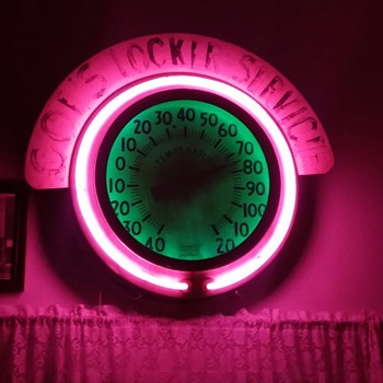 1940's double neon thermometer with marquee  - Advertising