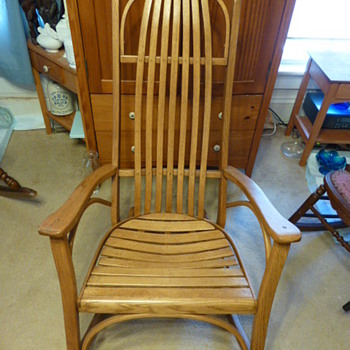Amish bent oak rocking chair - Furniture
