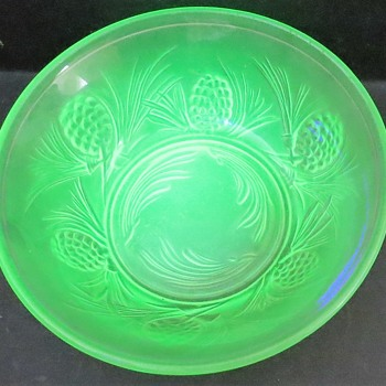 Jobling Glass Fircone (5000 pattern) Uranium Glass Bowl - Glassware