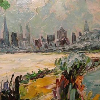 colorful landscape painting - oil on canvas - Fine Art