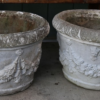 Two Very Large and Heavy Cast Stone Planters - Pottery