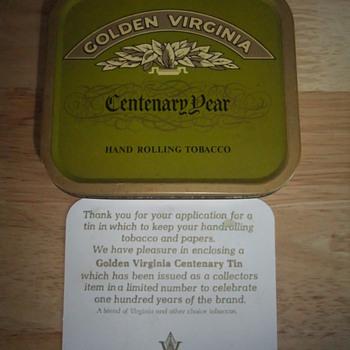 golden virginia centenary tin - Tobacciana