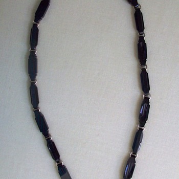 Antique Victorian Carved Onyx and Gold Mourning Necklace