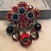 D & E RUBY RED & BLACK DIAMOND BROOCH...rare glass dangles!