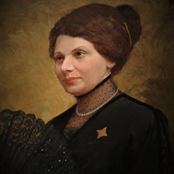 Emma Cordiglia Montero Lavalle (Wife Of Argentinian Ambassador To Belgium) Oil Portrait And Her Ebony Inlaid Evening Fan - Fine Art