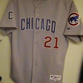 2001 Game Used Sammy Sosa Cubs Road Jersey, Cap, Bat, and Gloves