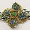 Stunning! Hobe Blue and Green Rhinestone Brooch