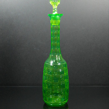 Val St Lambert Green cut to vaseline decanter