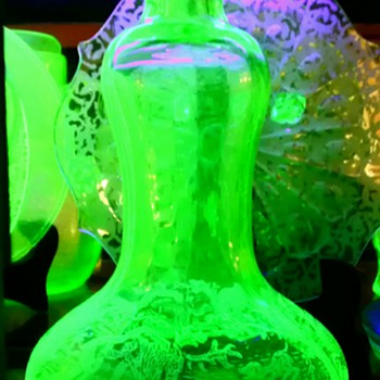 Rare Green Glass Paden City Black Forest Decanter - Glassware