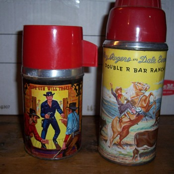 Roy Rodgers and Paladin vintage lunchbox thermos` - Kitchen